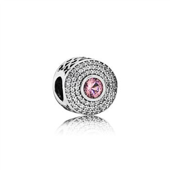Abstract silver charm with blush pink crystal and clear cubic zirconia 791763NBP