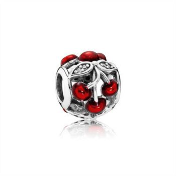 Cherry silver charm with clear cubic zirconia and red enamel 791900EN73