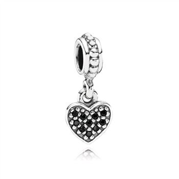 Black Pave Hanging Heart Dangle Charm 791023NCK